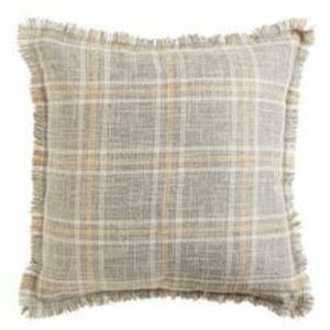 Plaid Pillow with Fringe Set of 2